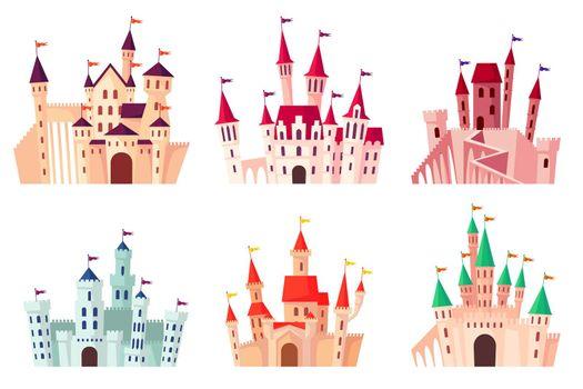 Cartoon medieval castles vector illustration set