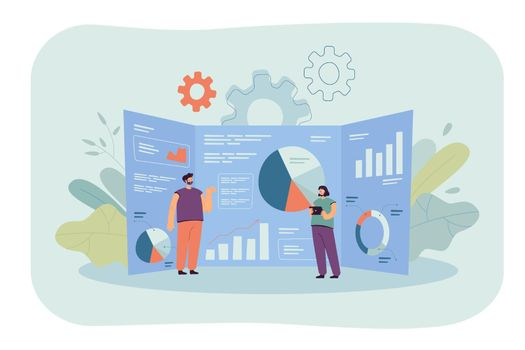 Cartoon tiny analysts and giant research dashboard with data