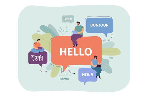 Cartoon tiny people having international communication online
