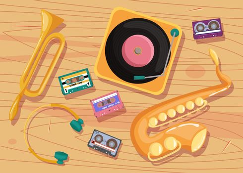 Cassette tapes, vinyl player and music instruments on table