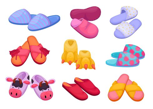 Different slippers for kids and adults vector illustrations set