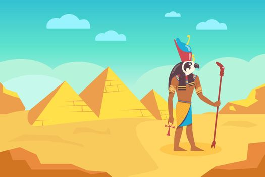 Egyptian God with walking stick surrounded by ancient pyramids
