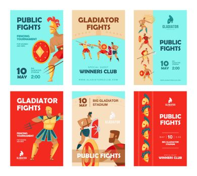 Event brochure designs with gladiators fighting