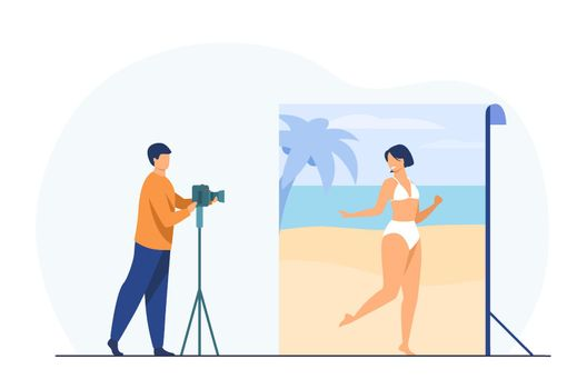 Photo shoot in beach background