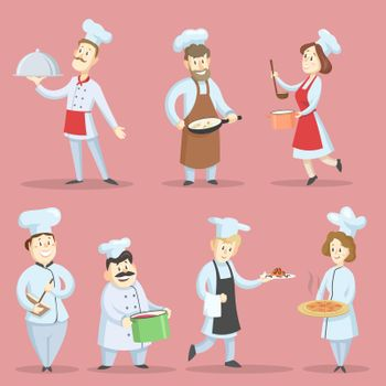 Professional chefs cooking vector illustrations set