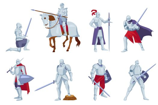 Set of armored knights with weapons in different angles, poses