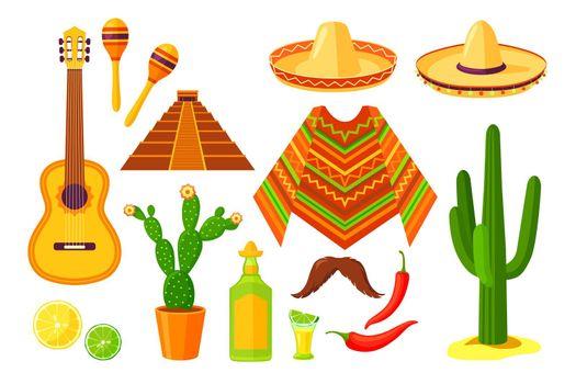 Set of cartoon Mexican traditional symbols