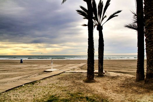 Beach under stormy sky in Santa Pola, Alicante, Spain