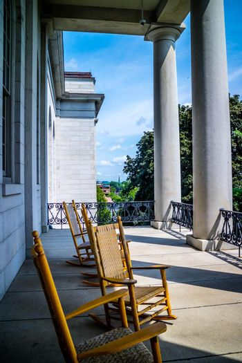 Augusta State Capital, ME, USA - August 8, 2018: The Augusta State Capital balcony area