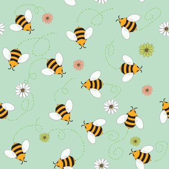 Vector seamless pattern of bees and flowers