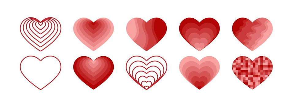 A set of hearts for creative design and decoration of greetings. Simple design.