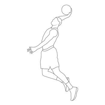 Basketball. Empty contour silhouette of a basketball player with a ball. Flat Style