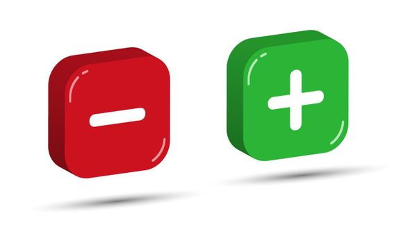 Red and green three-dimensional square buttons with plus and minus symbols. Simple design.