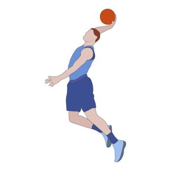 Basketball. Colored silhouette of a basketball player with a ball. Flat Style