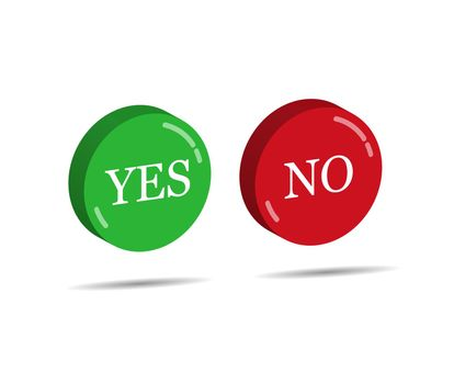 Red and green three-dimensional buttons with the words YES and NO. Simple design.