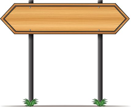 A wooden signboard with pointed edges