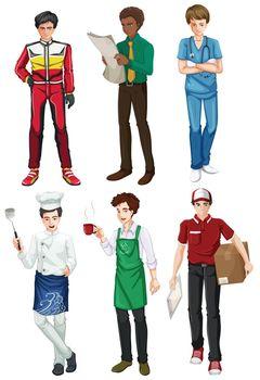 Six employed men