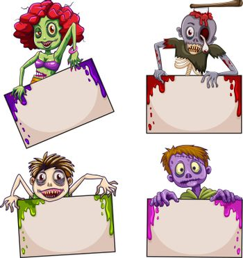 Zombies with empty signboards