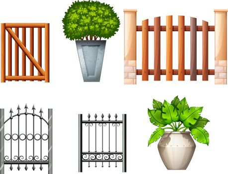 Different fences and gates with plants