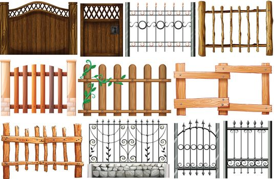 Different designs of fences and gates