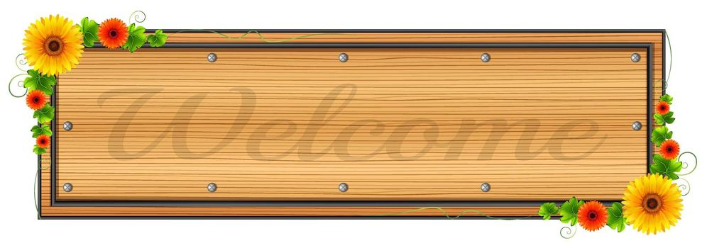 A wooden welcome signage