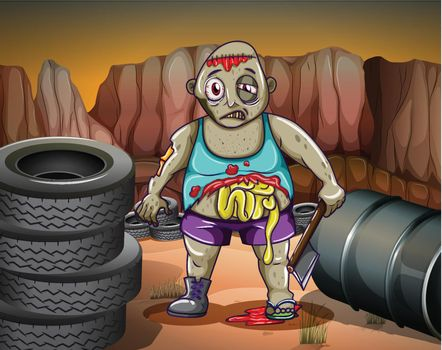 A zombie near the tires and the barrel