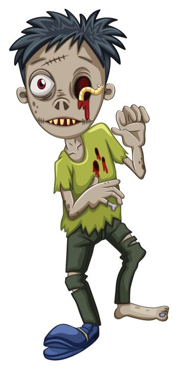A zombie with a worm in the eye