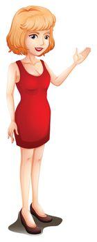 A businesswoman wearing a red sleeveless dress