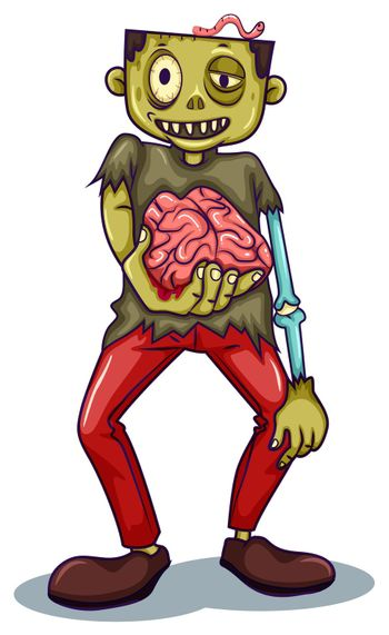 A zombie holding his brain