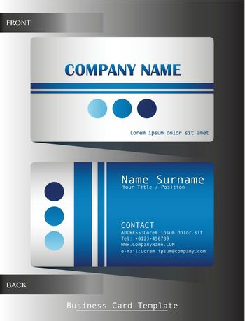 A blue colored calling card