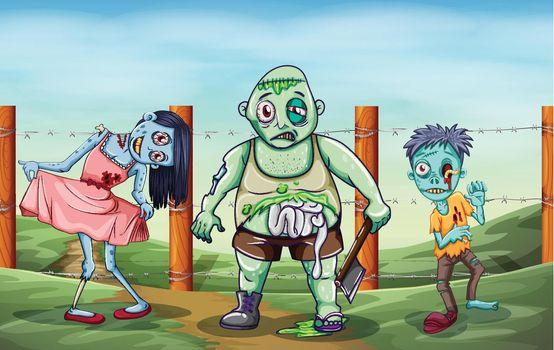 Three scary zombies