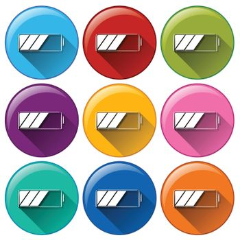 Rounded icons with batteries