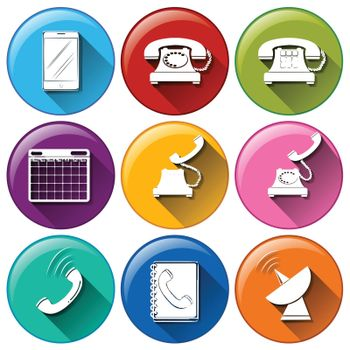 Illustration of different color communication icons