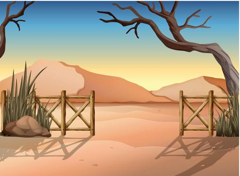 A desert with a fence