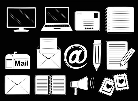 Illustration of the different communication tools on a black background