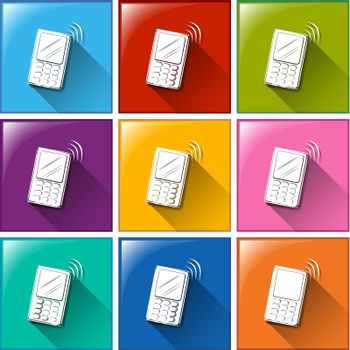 Illustration of different color icons of communication