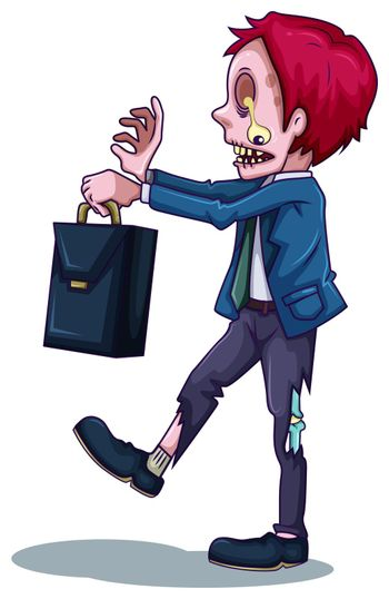 A male zombie with a bag