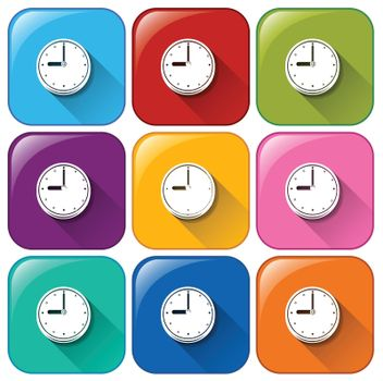 Rounded buttons with wallclocks