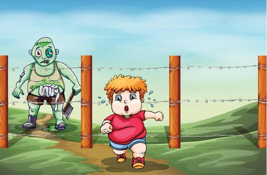 A boy who is afraid of a zombie