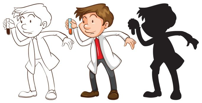 Different sketches of a chemist