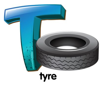 A letter T for tyre