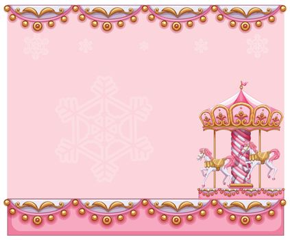 A stationery template with a merry-go-round ride