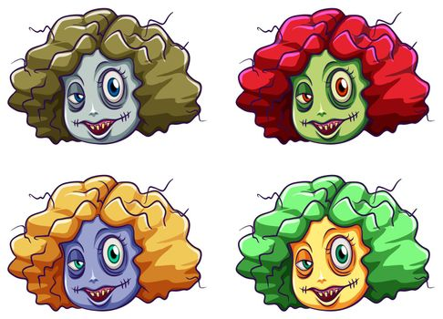 Scary faces of a zombie