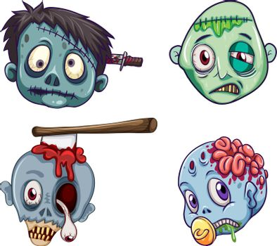 Heads of the zombies