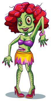 A fashionable female zombie