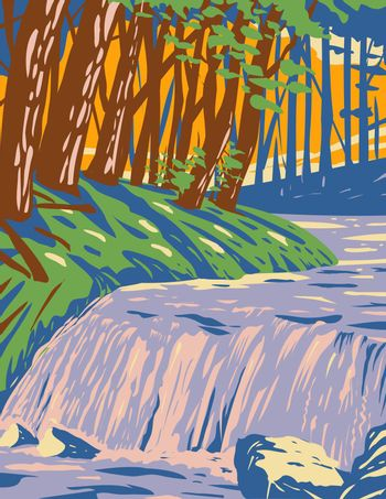 The Boykin Creek Waterfall in Angelina National Forest located in East Texas in San Augustine Angelina Jasper and Nacogdoches County WPA Poster Art