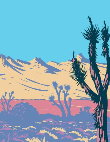 Castle Mountains Range and Joshua Tree in Mojave Desert Within Castle Mountains National Monument Located in California WPA Poster Art