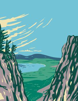 Paulina Peak View of Newberry National Volcanic Monument Around Newberry Volcano in Oregon USA WPA Poster Art