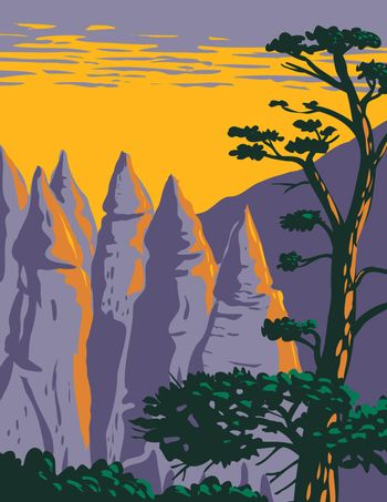 Cone Shaped Formations of Kasha-Katuwe Tent Rocks National Monument Located in Santa Fe New Mexico WPA Poster Art