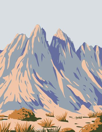 Organ Mountains-Desert Peaks National Monument Located in Mesilla Valley in the State of New Mexico USA WPA Poster Art